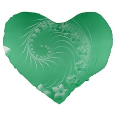 Light Green Abstract Flowers 19  Premium Heart Shape Cushion by BestCustomGiftsForYou