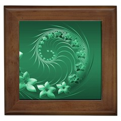 Green Abstract Flowers Framed Ceramic Tile by BestCustomGiftsForYou