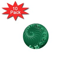Green Abstract Flowers 1  Mini Button (10 Pack) by BestCustomGiftsForYou