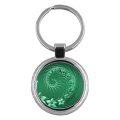 Green Abstract Flowers Key Chain (round) by BestCustomGiftsForYou