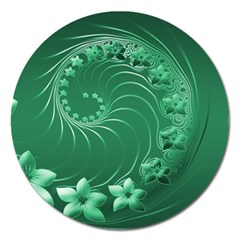 Green Abstract Flowers Magnet 5  (round) by BestCustomGiftsForYou