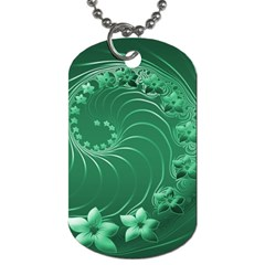Green Abstract Flowers Dog Tag (two Sided)  by BestCustomGiftsForYou