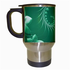 Green Abstract Flowers Travel Mug (white) by BestCustomGiftsForYou