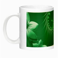 Green Abstract Flowers Glow In The Dark Mug by BestCustomGiftsForYou