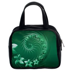 Green Abstract Flowers Classic Handbag (two Sides) by BestCustomGiftsForYou