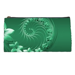 Green Abstract Flowers Pencil Case by BestCustomGiftsForYou