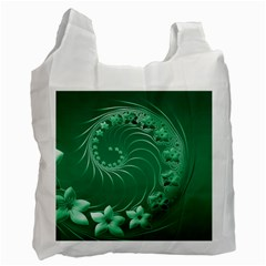 Green Abstract Flowers Recycle Bag (one Side) by BestCustomGiftsForYou