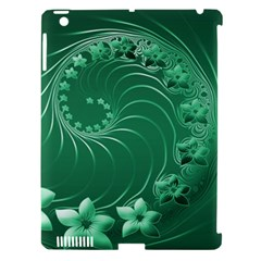 Green Abstract Flowers Apple Ipad 3/4 Hardshell Case (compatible With Smart Cover) by BestCustomGiftsForYou