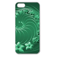 Green Abstract Flowers Apple Seamless Iphone 5 Case (clear) by BestCustomGiftsForYou