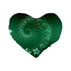 Green Abstract Flowers 16  Premium Heart Shape Cushion  by BestCustomGiftsForYou