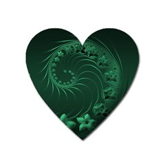 Dark Green Abstract Flowers Magnet (heart) by BestCustomGiftsForYou