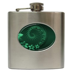 Dark Green Abstract Flowers Hip Flask by BestCustomGiftsForYou