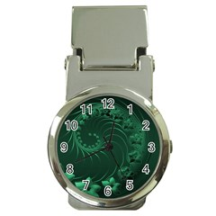 Dark Green Abstract Flowers Money Clip With Watch
