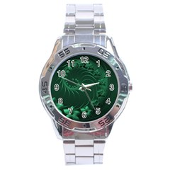 Dark Green Abstract Flowers Stainless Steel Watch (men s) by BestCustomGiftsForYou