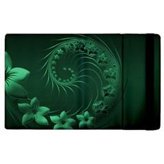 Dark Green Abstract Flowers Apple Ipad 3/4 Flip Case by BestCustomGiftsForYou