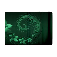Dark Green Abstract Flowers Apple Ipad Mini Flip Case by BestCustomGiftsForYou