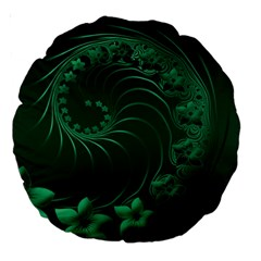 Dark Green Abstract Flowers 18  Premium Round Cushion  by BestCustomGiftsForYou