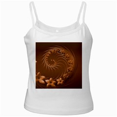 Brown Abstract Flowers White Spaghetti Tank by BestCustomGiftsForYou