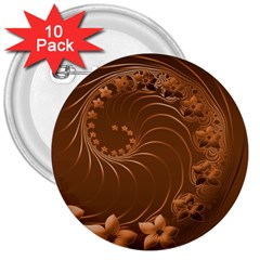 Brown Abstract Flowers 3  Button (10 Pack) by BestCustomGiftsForYou