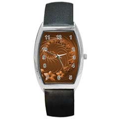 Brown Abstract Flowers Tonneau Leather Watch by BestCustomGiftsForYou
