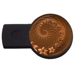 Brown Abstract Flowers 4gb Usb Flash Drive (round) by BestCustomGiftsForYou