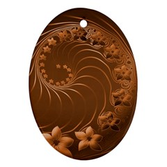 Brown Abstract Flowers Oval Ornament (two Sides) by BestCustomGiftsForYou