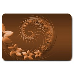 Brown Abstract Flowers Large Door Mat by BestCustomGiftsForYou