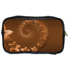 Brown Abstract Flowers Travel Toiletry Bag (one Side) by BestCustomGiftsForYou