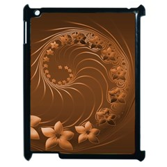 Brown Abstract Flowers Apple Ipad 2 Case (black) by BestCustomGiftsForYou