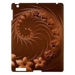 Brown Abstract Flowers Apple Ipad 3/4 Hardshell Case by BestCustomGiftsForYou