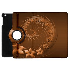 Brown Abstract Flowers Apple Ipad Mini Flip 360 Case by BestCustomGiftsForYou
