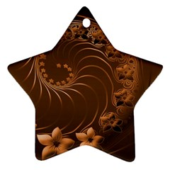 Dark Brown Abstract Flowers Star Ornament by BestCustomGiftsForYou