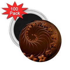 Dark Brown Abstract Flowers 2 25  Button Magnet (100 Pack) by BestCustomGiftsForYou