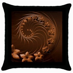 Dark Brown Abstract Flowers Black Throw Pillow Case by BestCustomGiftsForYou