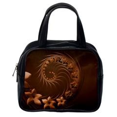 Dark Brown Abstract Flowers Classic Handbag (one Side) by BestCustomGiftsForYou