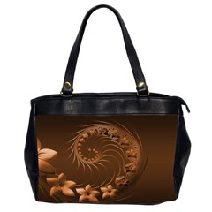 Dark Brown Abstract Flowers Oversize Office Handbag (two Sides) by BestCustomGiftsForYou