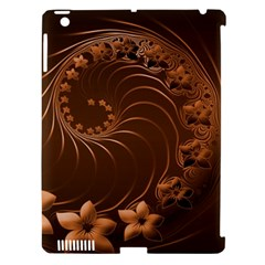 Dark Brown Abstract Flowers Apple Ipad 3/4 Hardshell Case (compatible With Smart Cover) by BestCustomGiftsForYou