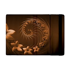 Dark Brown Abstract Flowers Apple Ipad Mini Flip Case by BestCustomGiftsForYou