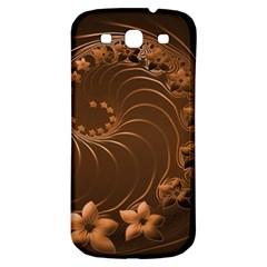 Dark Brown Abstract Flowers Samsung Galaxy S3 S III Classic Hardshell Back Case