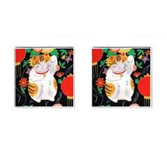 Maneki Neko Cufflinks (square) by TabbyCatStudios