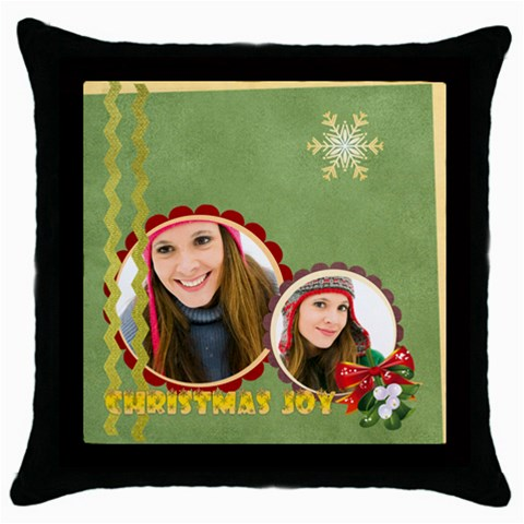 Merry Christmas By Merry Christmas   Throw Pillow Case (black)   083xl2enuvwy   Www Artscow Com Front