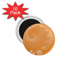 Orange Abstract Flowers 1 75  Button Magnet (10 Pack) by BestCustomGiftsForYou