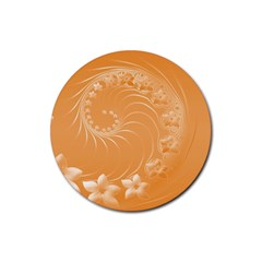Orange Abstract Flowers Drink Coasters 4 Pack (round) by BestCustomGiftsForYou