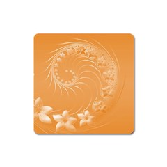 Orange Abstract Flowers Magnet (square) by BestCustomGiftsForYou