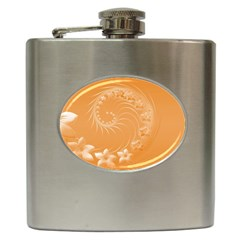 Orange Abstract Flowers Hip Flask by BestCustomGiftsForYou