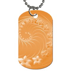 Orange Abstract Flowers Dog Tag (two Sided)  by BestCustomGiftsForYou