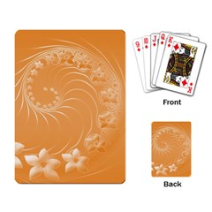 Orange Abstract Flowers Playing Cards Single Design by BestCustomGiftsForYou