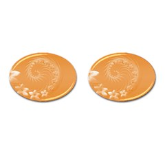 Orange Abstract Flowers Cufflinks (oval) by BestCustomGiftsForYou
