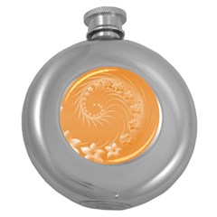 Orange Abstract Flowers Hip Flask (round) by BestCustomGiftsForYou