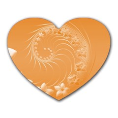 Orange Abstract Flowers Mouse Pad (heart) by BestCustomGiftsForYou
